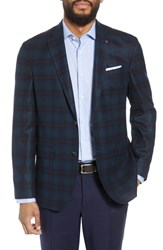 Ted Baker London Konan Trim Fit Windowpane Wool Sport Coat Teal