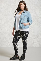 Forever 21 Plus Size Acid Wash Leggings Black White
