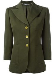 Alexander Mcqueen Three Button Blazer Green