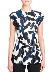 Jil Sander Cap Sleeve Printed Tunic White Base
