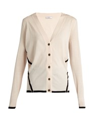Lanvin Bi Colour Wool Cardigan Light Pink