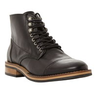 Bertie Charli Toecap Detail Lace Up Leather Boots Black