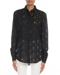 Saint Laurent Star Embroidered Eyelet Button Front Blouse Black