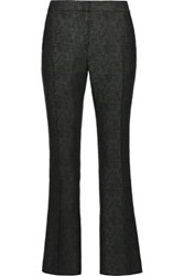 Karl Lagerfeld Dolly Wool Blend Jacquard Straight Leg Pants Forest Green