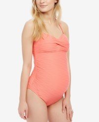 Motherhood Maternity Twist Front One Piece Swimsuit Coral