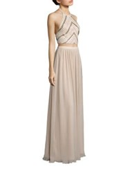 Aidan Mattox Two Piece Beaded Halter Top And Pleated Maxi Skirt