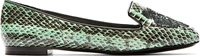 Kenzo Seafoam Snakeskin Print Leather Tiger Icon Loafers