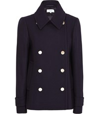 Reiss Becall Button Detail Pea Coat In Navy