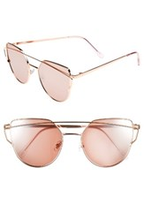 Women's Bp. 51Mm Thin Brow Angular Aviator Sunglasses Rose Gold