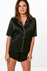 Boohoo Satin Piping Woven Shirt Black