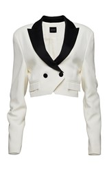Magda Butrym Contrast Detail Cropped Double Breasted Blazer White