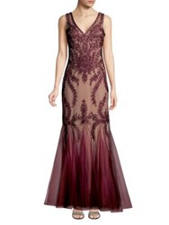 Cachet V Neck Lace Mermaid Dress Wine Nude