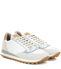 Brunello Cucinelli Paper Effect Leather And Suede Sneakers White