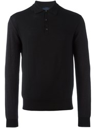 Lanvin Long Sleeved Polo Shirt Black