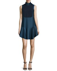 Camilla And Marc Sleeveless High Neck Flounce Cocktail Dress Women's French Nav