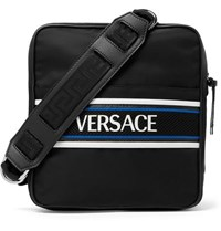 Versace Leather And Mesh Trimmed Logo Print Shell Messenger Bag Black