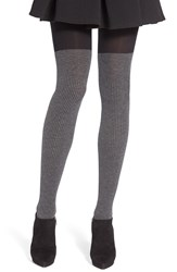 Dkny Ribbed Faux Over The Knee Tights Black Flannel Melange