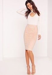 Missguided Faux Suede Midi Skirt Nude No