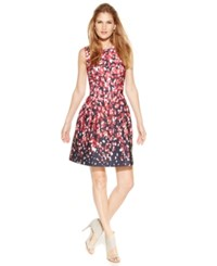 Calvin Klein Petite Printed Scuba Fit And Flare Dress Red