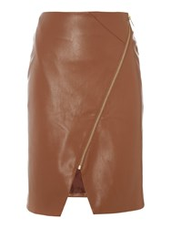 Biba Pu Assymetric Zip Detail Skirt Tan