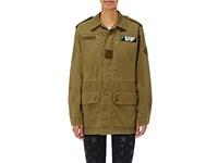 Saint Laurent Women's Patch Appliqued Gabardine Field Jacket Dark Green