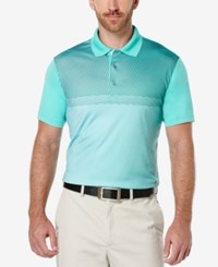 Pga Tour Men's Tonal Print Golf Polo Aqua Green