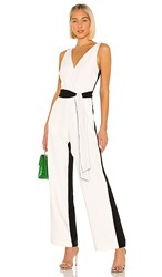 Tanya Taylor Jetta Jumpsuit In Black And White. Ivory And Black