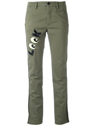 History Repeats 'Look' Patch Slim Fit Trousers Green
