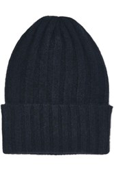 The Elder Statesman Short Bunny Echo Ribbed Cashmere Beanie Midnight Blue