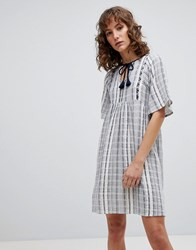 Suncoo Striped Smock Dress Blue
