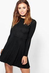 Boohoo Harriet Basic Long Sleeve Skater Dress Black