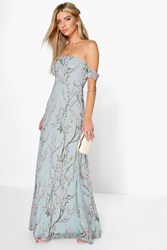 Boohoo Floral Off The Shoulder Maxi Dress Mint