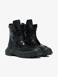Rick Owens Adidas By Black Hike Leather Lace Up Boots