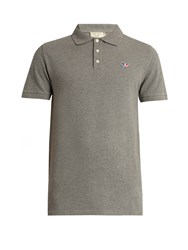 Maison Kitsune Logo Embroidered Cotton Pique Polo Shirt Grey