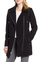 Marc New York Melton Asymmetrical Zip Coat Black