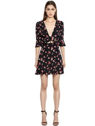 For Love And Lemons Cherry Print Rayon Crepe Mini Dress