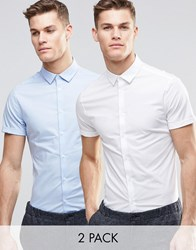 Asos Skinny Shirt In White And Blue With Short Sleeves 2 Pack Save 15 White Blue Multi