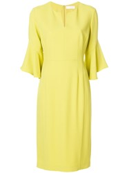 Mantu Bell Sleeve Mid Length Dress Yellow And Orange