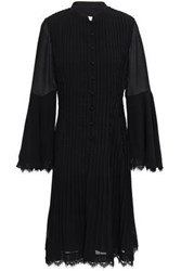 Mikael Aghal Woman Lace Trimmed Pintucked Crepe Dress Black
