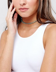 Asos Beaded Choker Necklace Blue