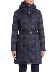 Vince Camuto Faux Fur Collared Quilted Coat Navy Blue