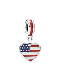 Pandora Design Pandora Dangle Charm Sterling Silver And Enamel Us Heart Flag Moments Collection Red White Blue