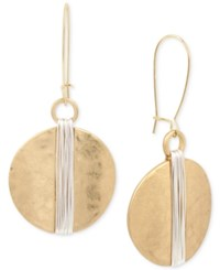 Robert Lee Morris Soho Two Tone Wire Wrapped Hammered Disc Drop Earrings Two Tone