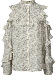 Robert Rodriguez Sheer Floral Blouse Women Silk 6 Nude Neutrals