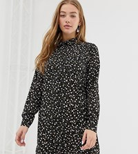 Daisy Street Oversized Shirt Dress In Ditsy Floral Black