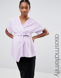 Asos Maternity Obi Band Wrap Blouse Lilac Purple