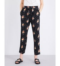 The Kooples Floral Print High Rise Trousers Bla01