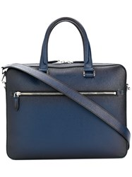 Salvatore Ferragamo Front Zipped Briefcase Blue