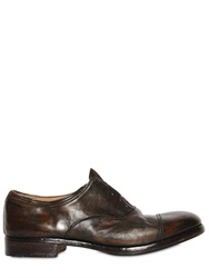Premiata Washed Leather Oxford Laceless Shoes