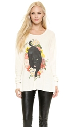 Wildfox Couture Panther Prowl Long Sleeve Thermal Tee Vintage Lace